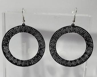 Aztec circle earrings