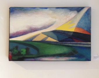 Camping - large original oil painting - modern abstract colorful,  camping in the geometric mountains with hanging clouds unique perspective