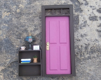 Pink Fairy Door with Attached Shelves