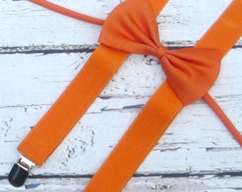 boys suspenders bow tie set, burnt orange bowtie, baby suspenders, halloween outfit, cake smash, first birthday, photo prop, wedding infants