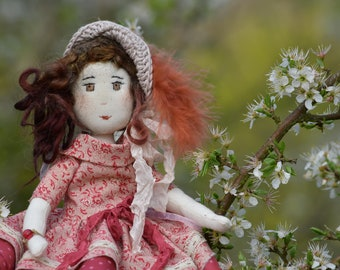 Rag doll / Miniature / gift for her / doll artist / Vintage/red /patchwork / Sophie / antique lace.