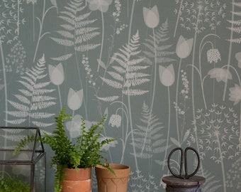 Soft Green Floral Fern Tonal Botanical Woodland Wallpaper Brontë Sisters // Charlotte's Garden in 'Heath' by Hannah Nunn