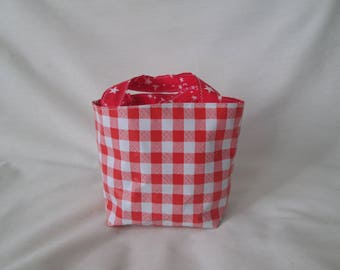 Mini kid bag in oilcloth red Plaid