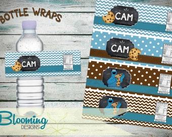 Milk and Cookie Monster Water/Milk Bottle Labels - PRINT YOURSELF Digital File
