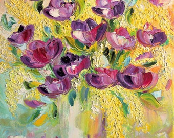 Bright glare of flowers - Original Oil Painting on canvas, palette knife flowers, bouquet of flowers, home decor, bright colors, bright
