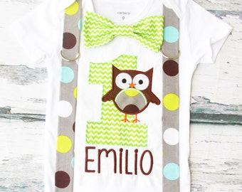 Baby Boy First Birthday polka dot owl themed first birthday green chevron bow tie suspender set Boy one year cake smash owl themed first