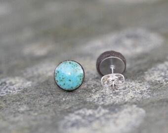 Turquoise ceramic stud earrings