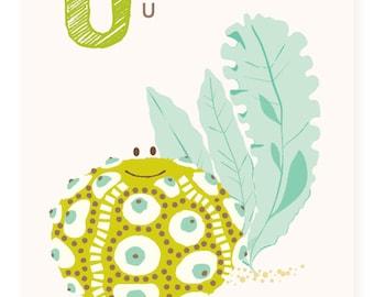 ABC wall art, ABC card, U is for, Urchin, alphabet flash cards, nursery wall decor for kids