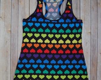 Adult women's rainbow hearts tank top xxs - xl