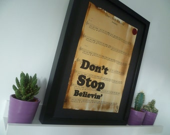 Journey, Don't stop believin', sheet music art work, music art, inspirational quotes, song lyric prints, music gifts, custom art work,