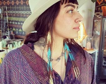Leggy Ladies in Turquoise // // Native American Beaded Earrings // Shoulder Duster // Long Fringe // Boho Earrings // Dangle & Drop Earrings