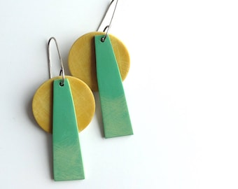 Geometric earrings, tropical colors, abstract, art jewelry, colorful jewelry, summer jewelry