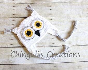 Crochet Owl Hat Baby Owl Hat Kids Owl Hat White Owl hat White Owl Beanie White Gray Yellow and Black Owl Hat Newborn Owl hat Toddler Owl Hat