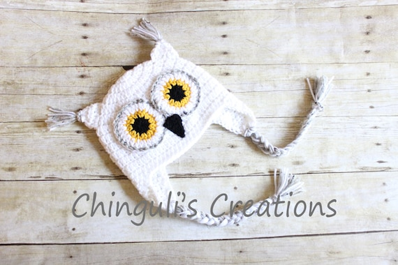 Crochet Owl Hat Baby Owl Hat Kids Owl Hat White Owl hat White