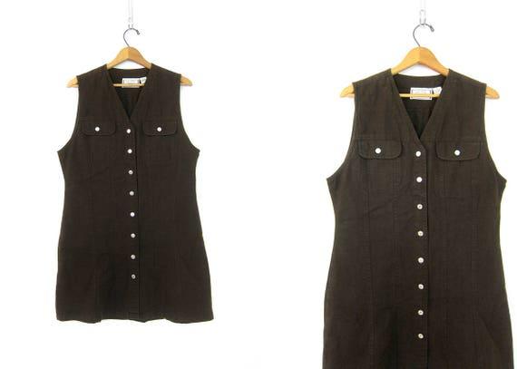 90s Denim Dress Button Up Mini Jean Dress Jumper Mini POCKET Dress Jean Overall Dress Denim Preppy Summer Sun Dress Women's size Large