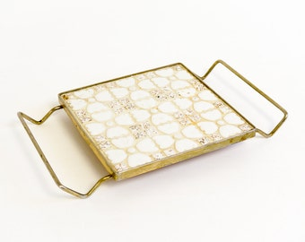 Vintage 1950s Mosaic Tile Trivet / White and Gold Speckled Tiles, Floral Pattern