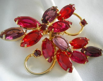 SALE Persimmon and Lavender Marquis Navette Stones Gold Tone Juliana Style Brooch - Unsigned - Vintage