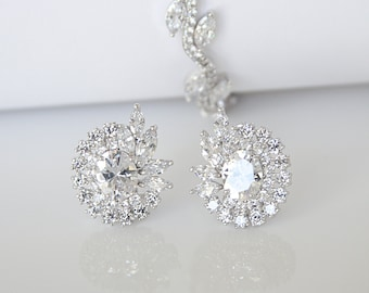 Vintage Inspired Art Deco Cubic Zirconia Earrings Cocktail Earrings Best Gift For Her
