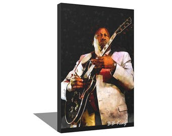 BB King 100% Cotton Canvas Print Using UV Archival Inks Stretched & Mounted
