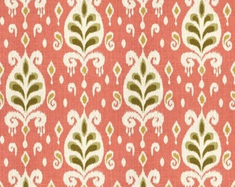 Coral Ikat Fabric Linen Cotton Blend Home Decor Designer Upholstery