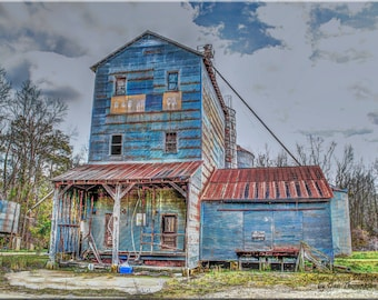 Old Rustic Grain Mill, Country, Wall Art, Photography, Silo, Country Life