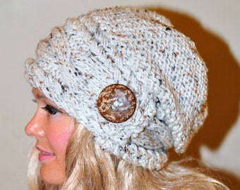 Slouchy Beanie Slouchy Hat Women Hat Button Hat Hand Knit Winter Adult Hat CHOOSE COLOR Wheat White Chunky Gift