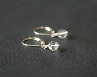 Small swarovski and sterling silver earrings- crystal earring leverback