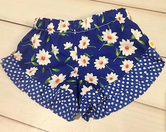 Daisy flower girls ruffle shorts