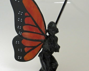 Stained Glass Angel Monarch Butterfly Hand-Painted Kneeling Fairy Figurine - Made to Order (MON030)