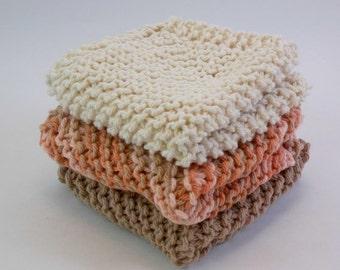 Cotton Knit Dish Cloths Cotton Wash Cloths Taupe Coral Natural Tones