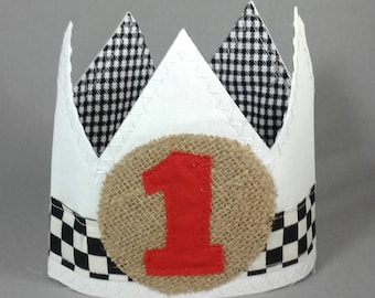 Shabby racing birthday crown, first birthday crown, B250, Race car boy birthday photo prop