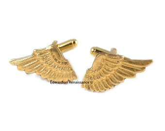 Gold Angel Wings Cuff Links Neo Victorian Cufflinks Vintage Inspired