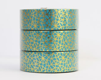Washi tape foil tape blue gold mosaic
