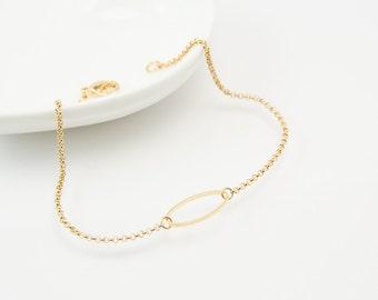 Oval bracelet, daity bracelet, gold bracelet, charm bracelet, gold chain bracelet, cute bracelet, friendship bracelet, gold chain