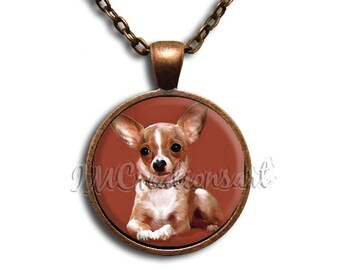 Chihuahua Sitting Glass Dome Pendant or with Chain Link Necklace AN138