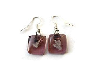 Pink Dangle Earrings, Small dangle earrings, small glass earrings, silver dangle earrings, fossil earrings, pink earrings, fused glass