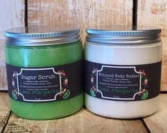 Natural Skincare Set, Lime Margarita, Lime Sugar Scrub, Lime Body Butter, Citrus Body Butter, Citrus Sugar Scrub, Lime Spa Set, Gift for Her