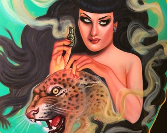 """Oil Painting """"Cybele"""" leopard cat woman vintage style 24""""x30"""" free shipping in the USA"""