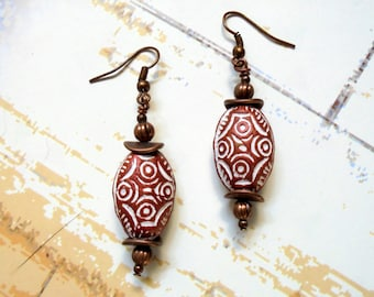 White and Copper Earrings (2309)