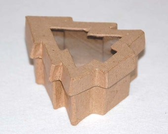 Paper mache Christmas tree box with window