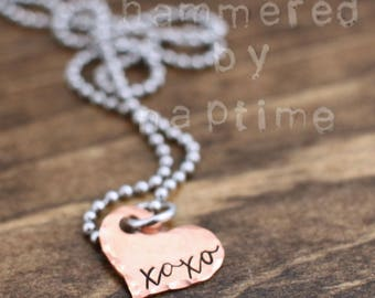 XOXO Necklace, Love Necklace, Valentine's Day Gift, Heart Necklace, Personalized Gift for her, Copper Heart Necklace, Heart Jewelry,
