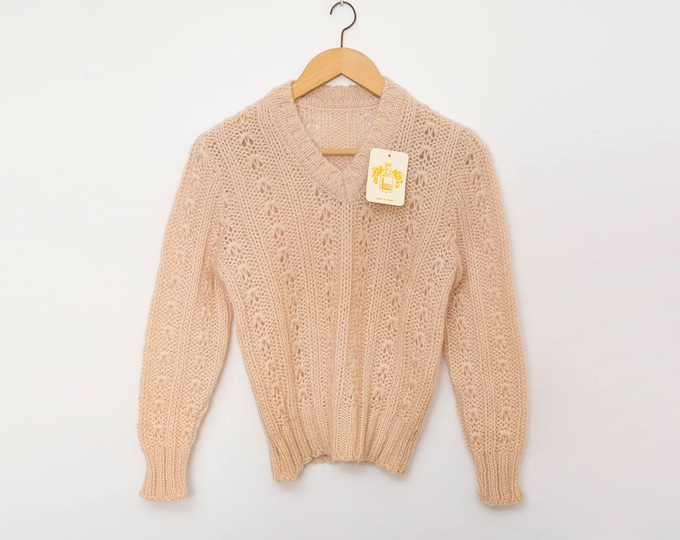 Vintage knit sweater deadstock beige