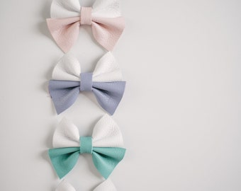 Color Block Leather Bow   3 Colors