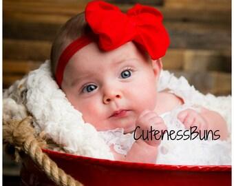 Red Headband, Baby Headband, newborn headband, Baby Hairbow, Valentine Bow, baby girl Headband, Red Hair Accessory, red Bow Headband, baby