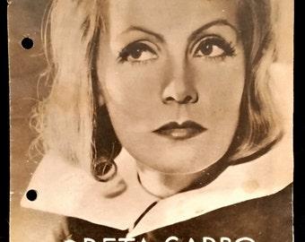 Original 1933 Queen Christina Austrian Movie Poster Program, Pressbook, Greta Garbo, Vintage