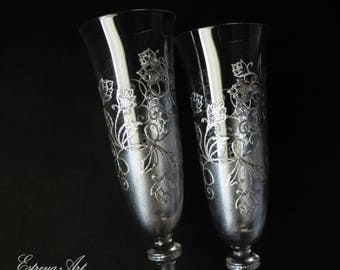 Wedding hand painted flutes, silver wedding, painted lace glasses, champagne flutes, anniversary gift, wedding gift, gift couples, set of 2
