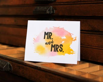 Mr. and Mrs. letterpress greeting card