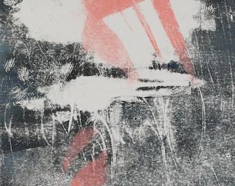 "Original image, Monotype ""Nordic Dream"", sheet size 40 x 30 cm, motive size 30 x 20 cm, abstract landscape, night"