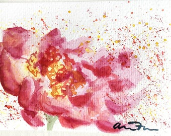 Original Watercolor Painting 4 x 6, Floral Flower Painting, Abstract Flower, Loose Watercolor, Pink and Yellow, Flower Lover, Gift for Her