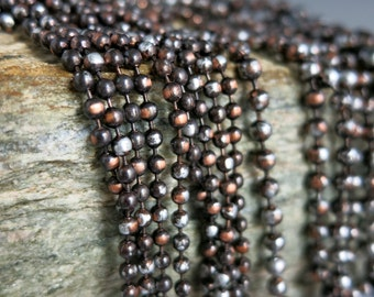 """2.4mm COPPER Ball Chain, Ancient Relic PATINA , Hand Applied Patina, by the Inch, 6"""" to 36"""""""